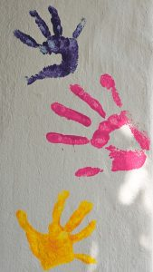 art finger paint handprints